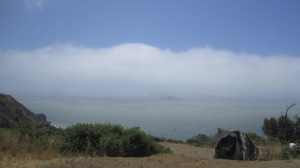 Can you see Alcatraz and the city view behind the fog?
