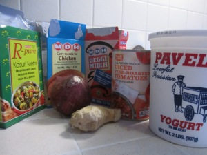 Ingredients for chicken curry masala
